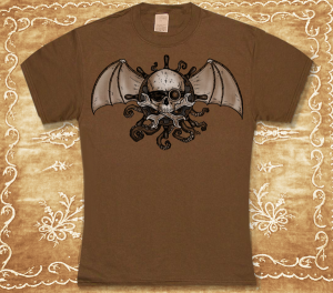 Two-Color Airships and Tentacles Dusty-Brown Tee