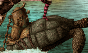 MACH Turtle Detail - Steampunk Alice through the looking glass painting by Myke Amend