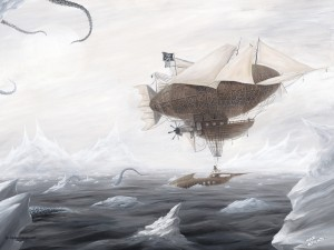 The Rescue -Steampunk Airship painting featuring Abney Park's HMS Ophelia