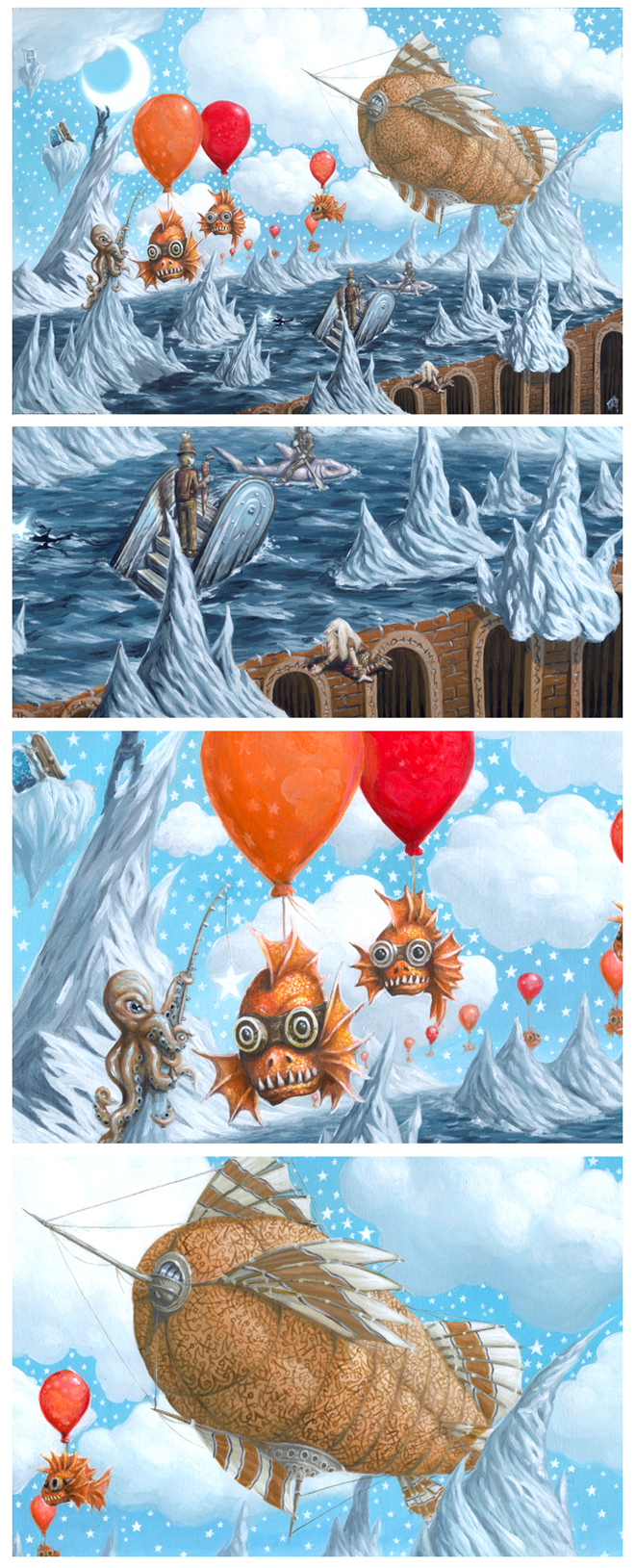 Edge of Dreams Steampunk Surreal Airship Childrens Painting